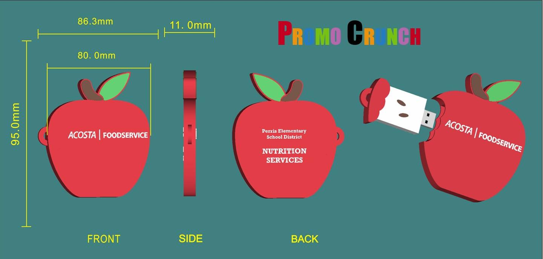 Apple shaped custom USB Flash drive