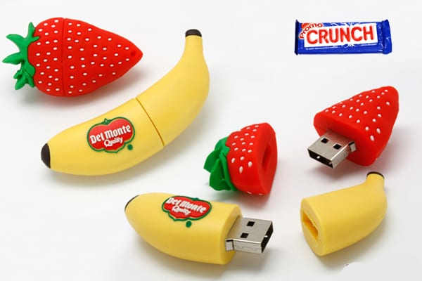 fruit custom rubber flash drive