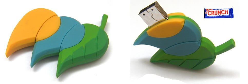 leaf custom rubber flash drive