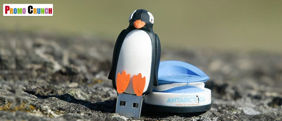 Penguin shaped custom molded flash drive memory stick
