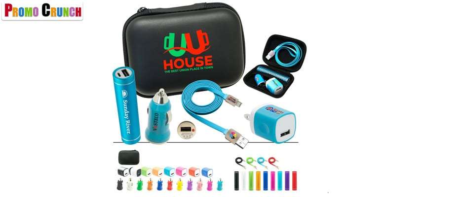 Cables, Chargers and Promotional Kits. Power up your logo onto these useful on-the-go data and power charging kits.