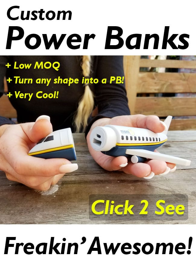 custom bespoke portable battery charger power bank is a great tradeshow and b2b marketing idea for marketing and trade show giveaways.