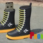 boot shape PVC and rubber custom shaped and molded flash drives and USB Memory sticks for marketing and advertising. Corporate, b2b, promotional products. The perfect logo promotion.