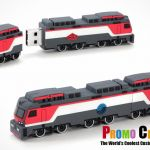train PVC and rubber custom shaped and molded flash drives and USB Memory sticks for marketing and advertising. Corporate, b2b, promotional products. The perfect logo promotion.