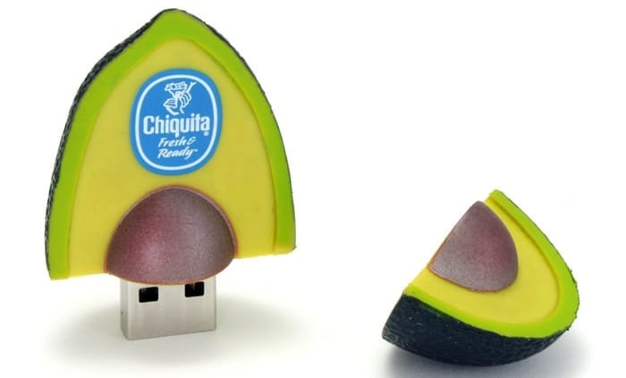 """Avocado shaped custom flash drive.. Promo Crunch. Home to the """"World's Coolest Custom 3D Flash Drives"""". Turn your logo, idea or product into a 3D custom shaped USB flash drive."""