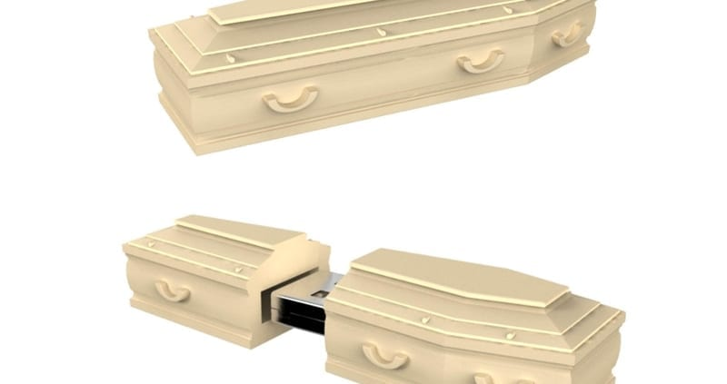 """Casket shaped custom flash drive.. Promo Crunch. Home to the """"World's Coolest Custom 3D Flash Drives"""". Turn your logo, idea or product into a 3D custom shaped USB flash drive."""