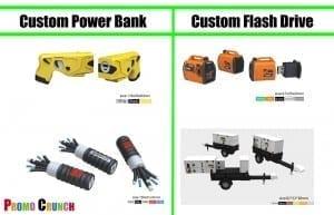 free virtual proof of a custom shaped flash drive or power bank