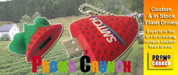 strawberry custom usb pvc rubber flash drives