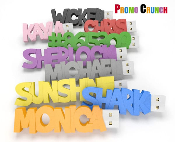 word shape custom usb pvc rubber flash drives