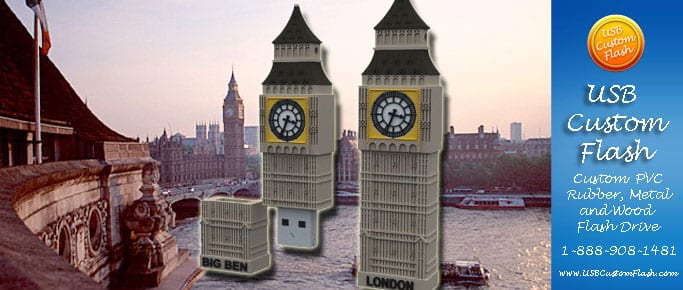 London Custom PVC Rubber USB Flash Drives