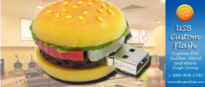 Burger Custom PVC Rubber USB Flash Drives