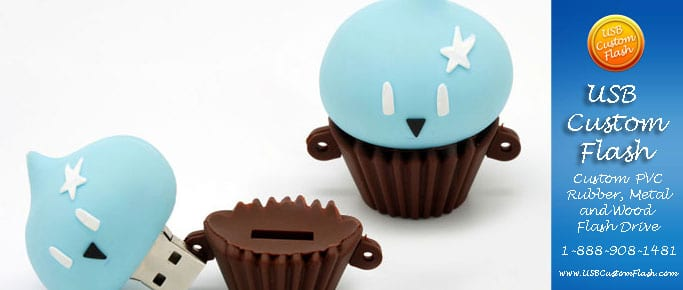 cup cake Custom USB PVC Rubber flash drives