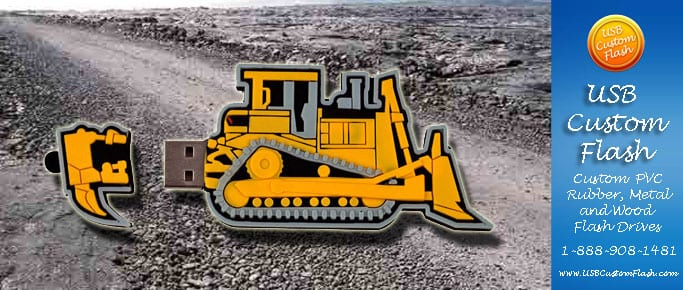 bulldozer Custom USB PVC Rubber flash drives