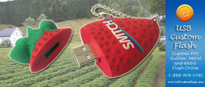 Strawberry Custom shaped USB Flash Drive