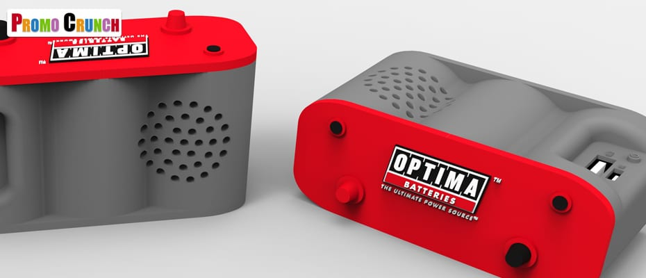 bluetooth speaker and power bank in a custom molded shape.