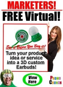 3D custom shaped molded earbuds headphones promotional giveaway