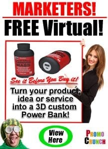 custom 3d power ban battery charger promotional product usb marketing giveaway tradeshow