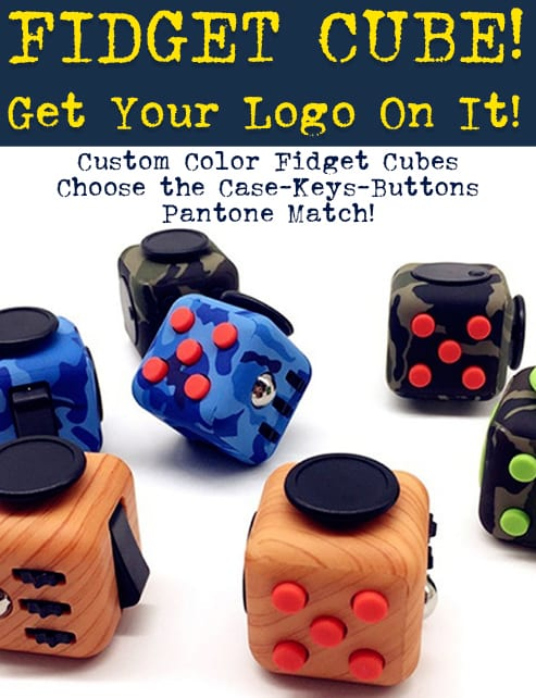 custom color fidget cubes fidget spinner, fidget tool and fidget cubes are the best new idea for tradeshow swag and conference giveaways. The fidget promotional products are perfect for trade shows, b2b marketing and logo promotion.