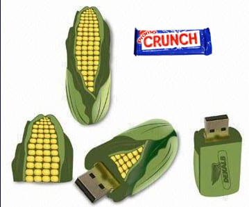 corn shape pvc rubber flash drive
