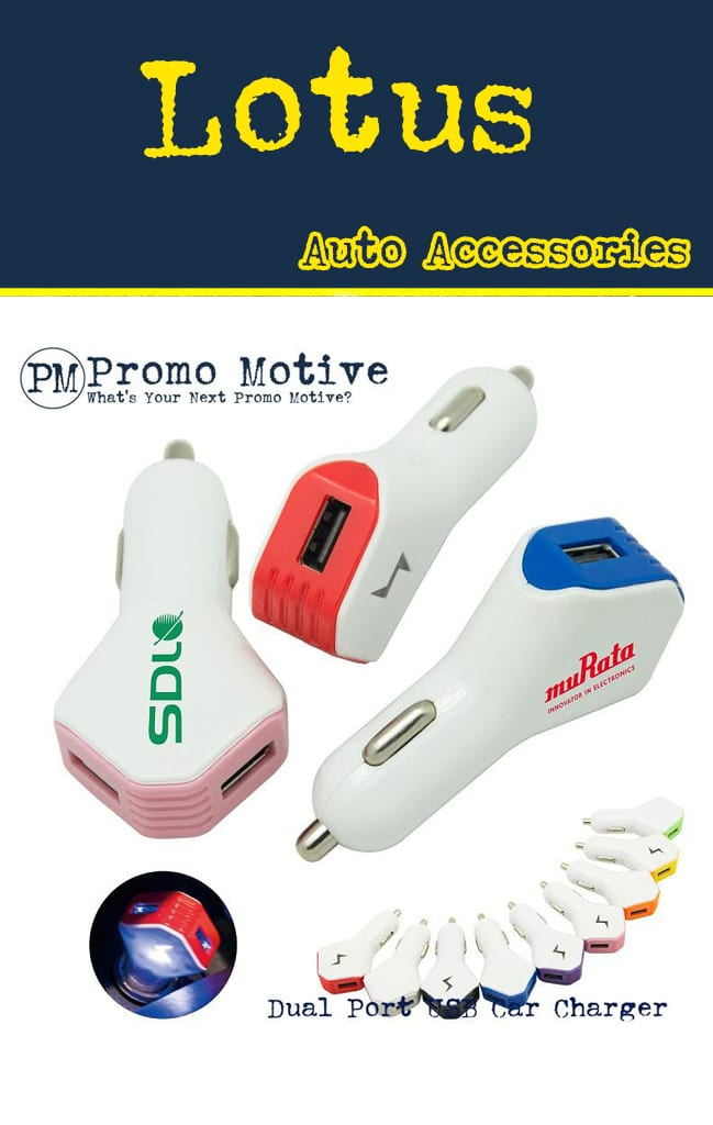 Dual Port USB cigarette lighter car promotional product for tradeshows and giveaways