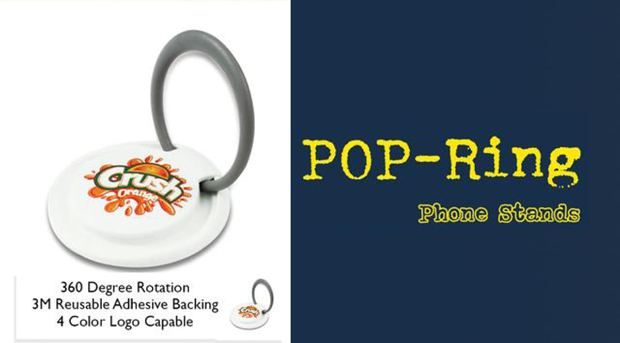Get your business or event logo on a Pop Socket ring holder and grip for tradeshow promo swag.