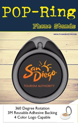 Pop Socket promotional ring holder and grip for tradeshow promo swag.
