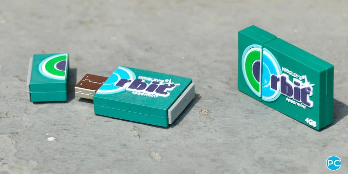 Orbit gum shaped custom shaped 3D USB flahs drive. Turn your logo or idea into a 3D custom flash drive   Wholesale Bulk Cheap  Promo Crunch