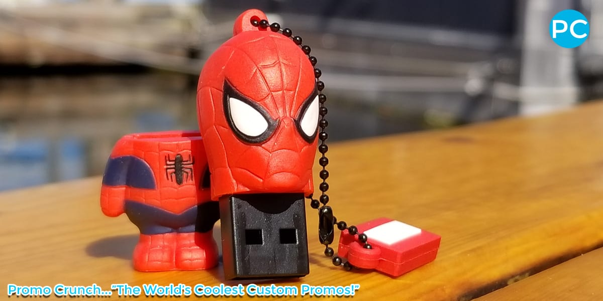 Spiderman shaped custom 3D USB Flash Drive | Wholesale Promotional Product| Promo Crunch, The World's best custom shaped flash drives.