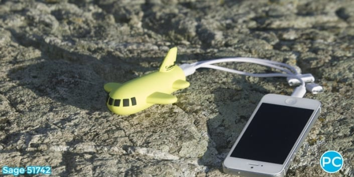 Plane shaped 3D Power Bank portable battery charger | Wholesale Promotional Product| Promo Crunch, The World's best custom shaped phone charers.