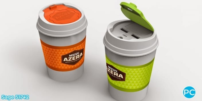 Coffe cup shaped 3D Power Bank portable battery charger | Wholesale Promotional Product| Promo Crunch, The World's best custom shaped phone charers.