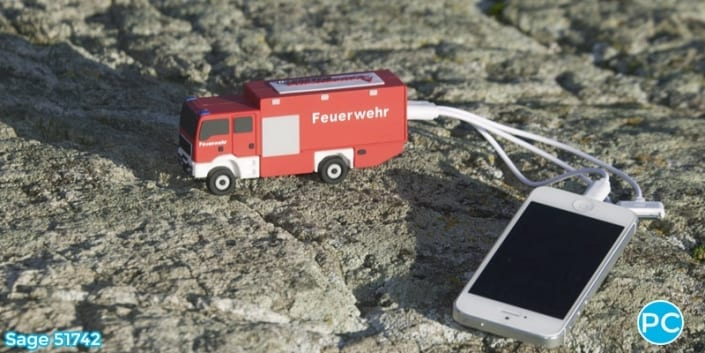 Fire truck shaped 3D Power Bank portable battery charger | Wholesale Promotional Product| Promo Crunch, The World's best custom shaped phone charers.