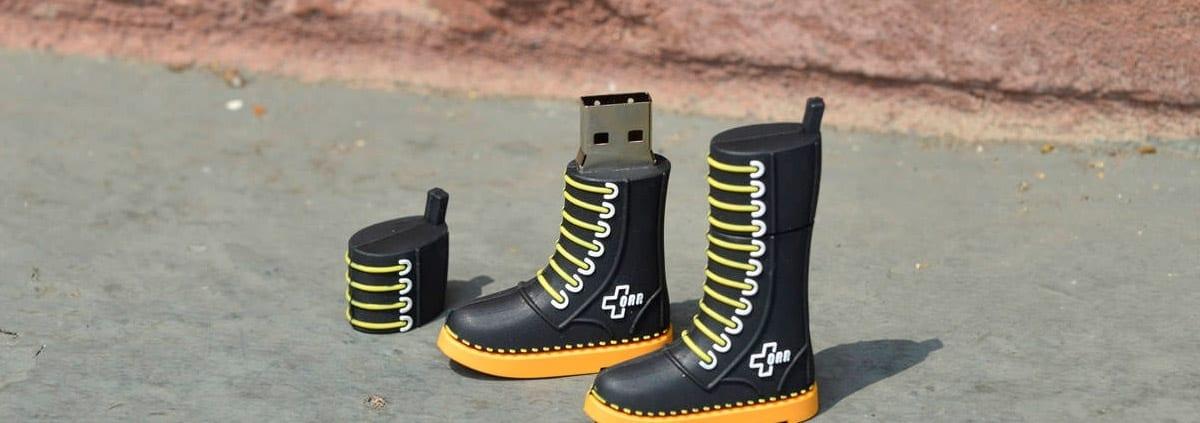 Shoe shaped custom shaped 3D USB flahs drive. Turn your logo or idea into a 3D custom flash drive | Wholesale Bulk Cheap| Promo Crunch