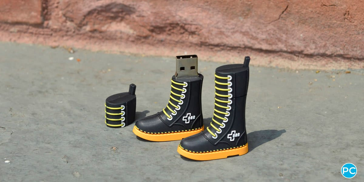 Shoe shaped custom shaped 3D USB flahs drive. Turn your logo or idea into a 3D custom flash drive   Wholesale Bulk Cheap  Promo Crunch
