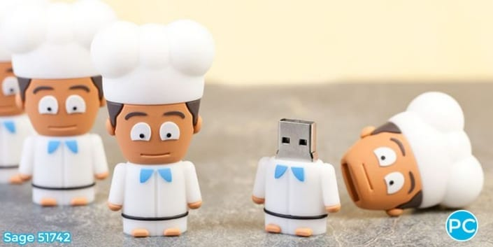 Cartoon chef shaped custom 3D USB Flash Drive | Wholesale Promotional Product| Promo Crunch, The World's best custom shaped flash drives.