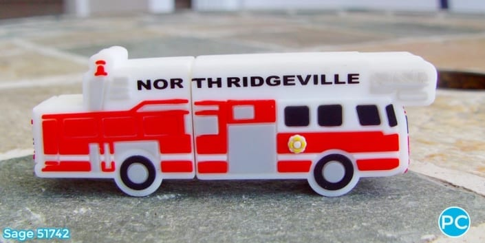 Fire truck shaped custom 3D USB Flash Drive | Wholesale Promotional Product| Promo Crunch, The World's best custom shaped flash drives.