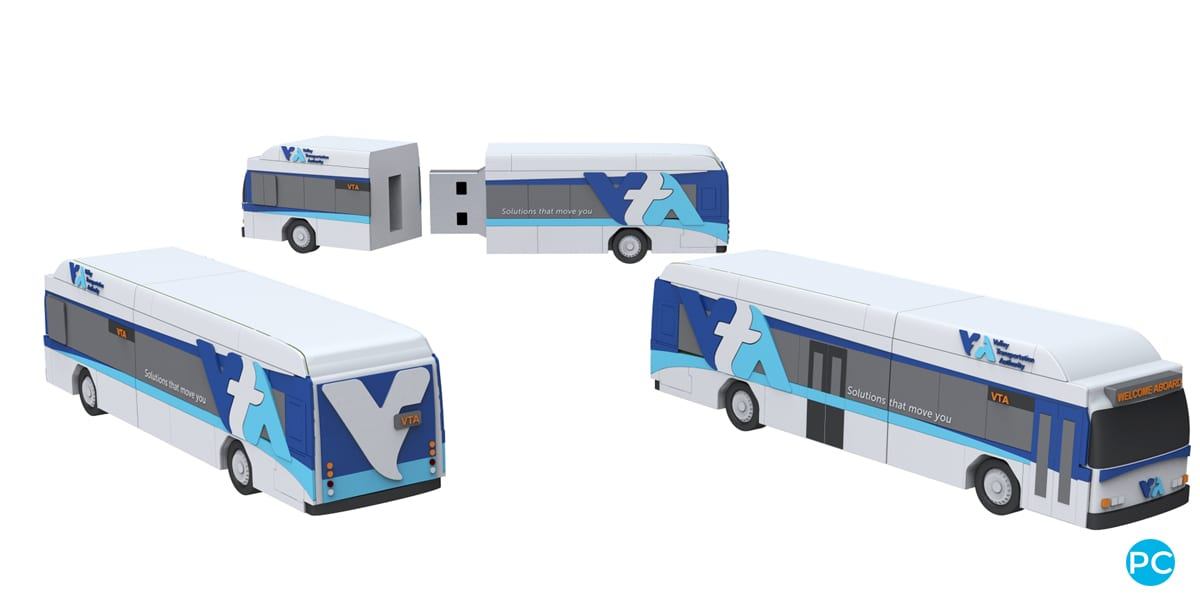 Bus shaped custom shaped 3D USB flahs drive. Turn your logo or idea into a 3D custom flash drive | Wholesale Bulk Cheap| Promo Crunch
